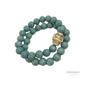 Turquoise Skull Bead Stretch Boho Bracelet